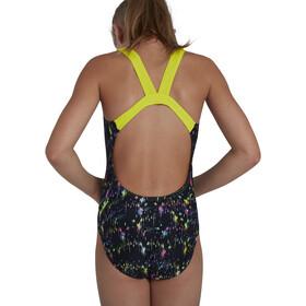 speedo Digital Placement Leaderback Swimsuit Girls glitch black/acid/begonia